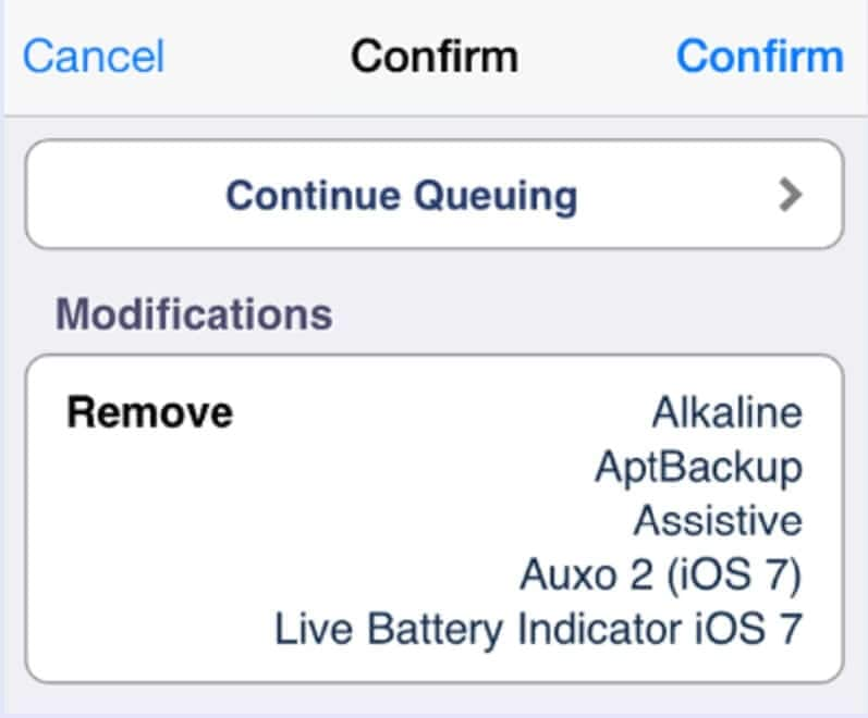 how to delete cydia - continue queuing