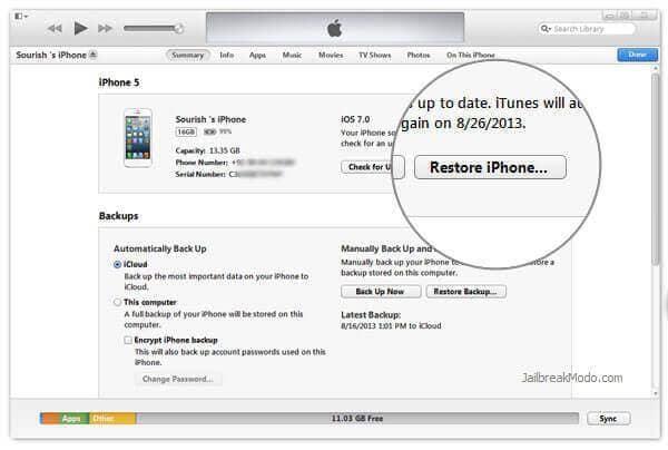 factory reset iPhone 7 using itunes