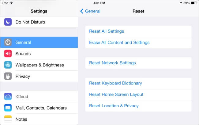 Reset all ipad settings