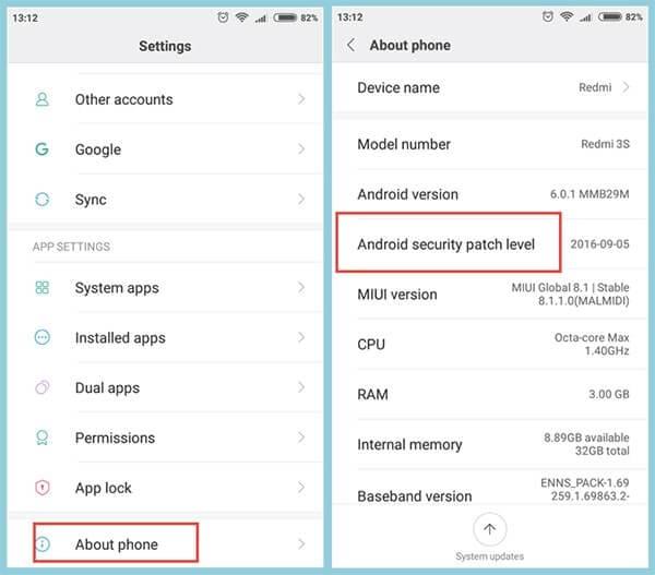 Livello patch di sicurezza Android