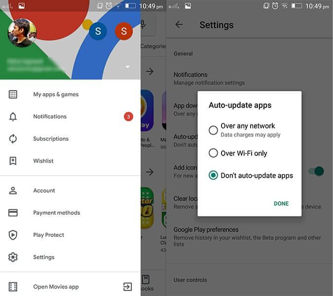 Non aggiornare automaticamente le app