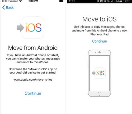 Launch the Move to iOS app