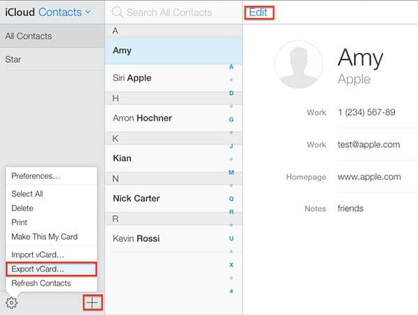 export your contacts