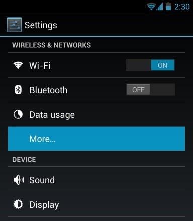 Übertragen von Fotos von Android zu Android per NFC-Auf Einstellungen gehen