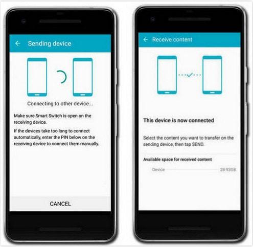 Come trasferire foto da Android ad Android tramite il dispositivo di invio e il dispositivo di ricezione impostati con Smart Switch