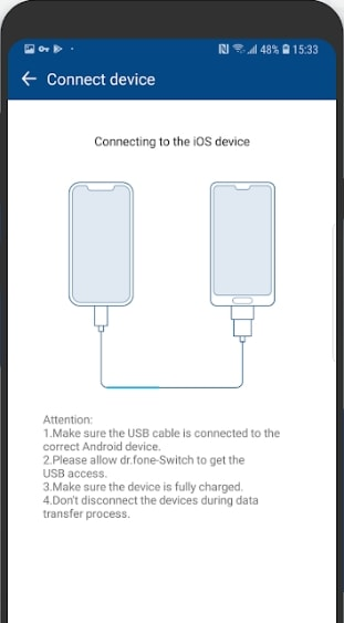 connect with iphone using ios data cable and usb connector