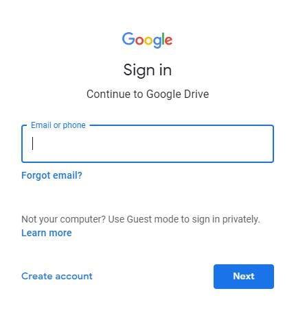 Anmeldung bei Google Drive