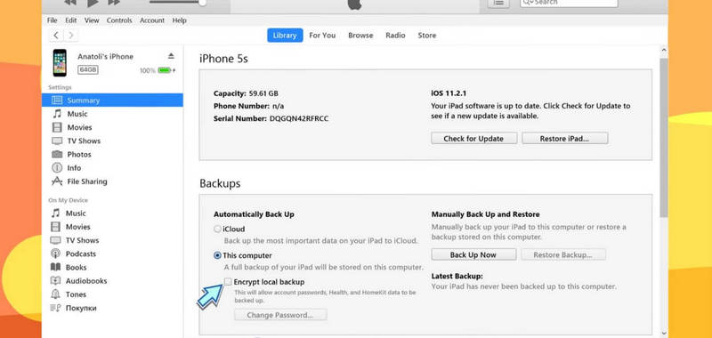 itunes setup - backup your iPhone