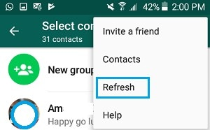 refresh contact list on android