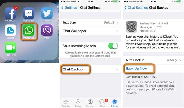restore whatsapp from icloud to iphone 1