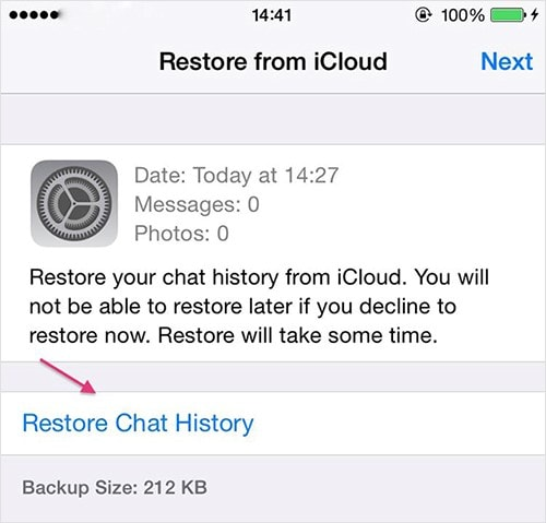 restore whatsapp from icloud to iphone 2