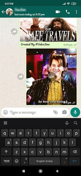 send a gif on whatsapp on android 10