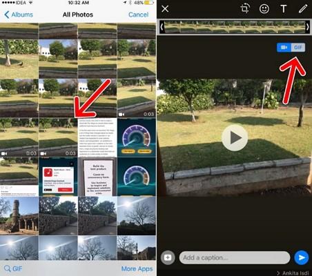إرسال صورة gif على whatsapp باستخدام جهاز iphone 4