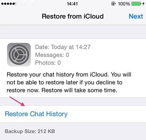 transfer whatsapp backup from icloud iphone