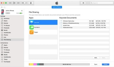 transfer excel using iTunes
