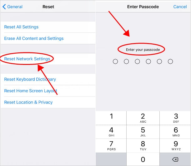 reset network settings and enter password