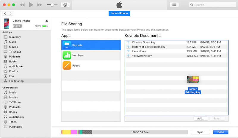 Drag-and-drop files to apps in iTunes File Sharing window