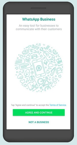 WhatsApp Business sign up screen