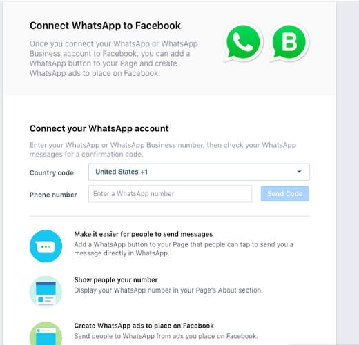 Connect WhatsApp to Facebook Pages