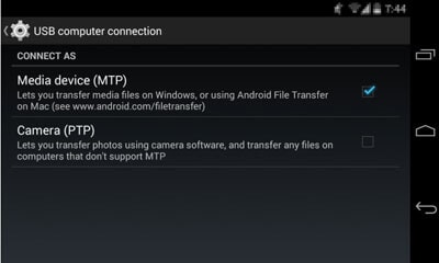 select media device (mtp) as connection type