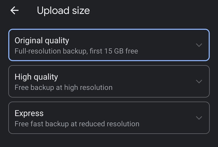 Choose Upload Size in Photos on Android