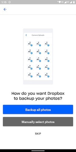 Backup Photos in Dropbox