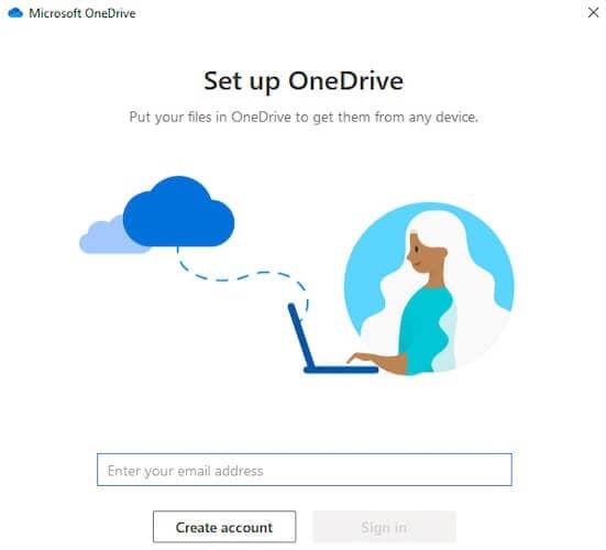 OneDrive Sign In Screen