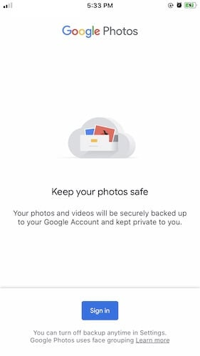 Google Photos on iOS
