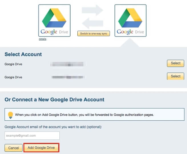 add another google drive account