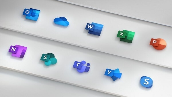 Major apps in Microsoft Office 365