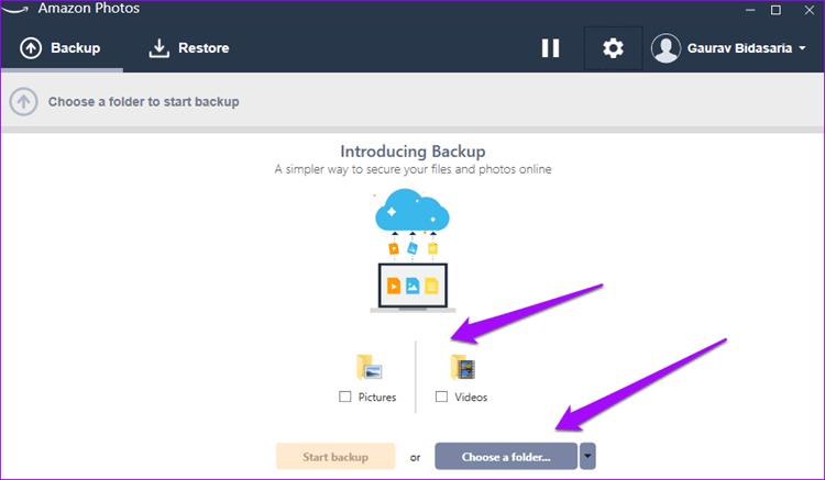 Amazon Drive interface