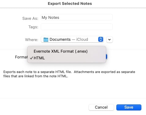 Export Evernote Notes in HTML