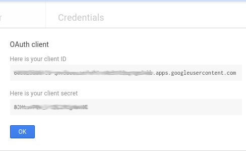 "click ""ok"" after seeing the client id and secret"