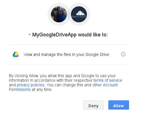 grant access to google drive by clicking allow
