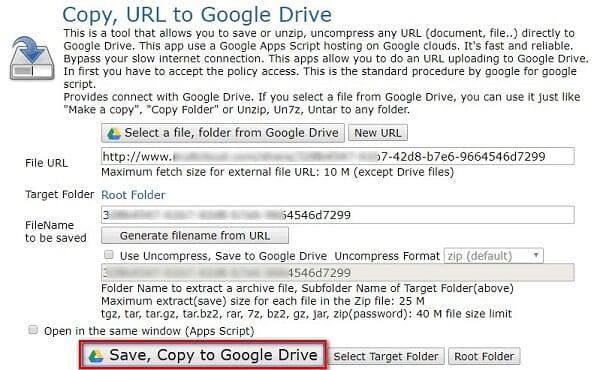 Upload URL to Google Drive