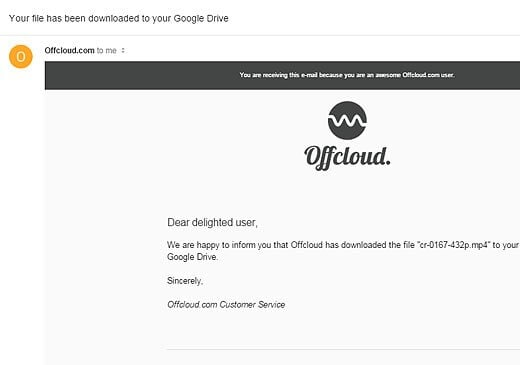 Email notification sent by Offcloud.