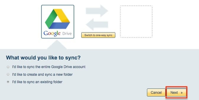 select your sync option