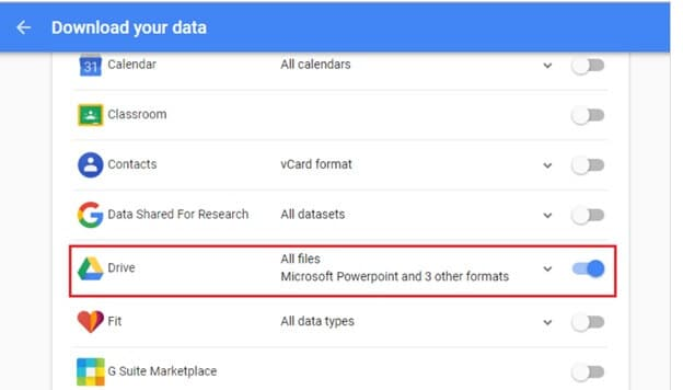Archive google drive
