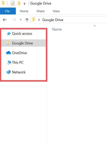 google drive folder appears in file explorer