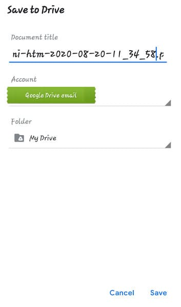 add the name of document and tap save