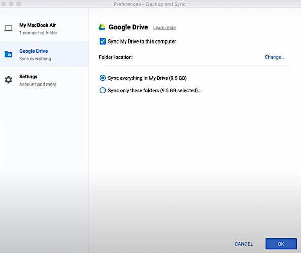 Select files and folders to sync to computer from Google Drive