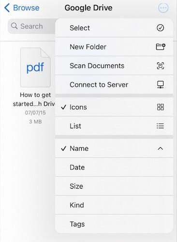 Select multiple files in Google Drive in Files app