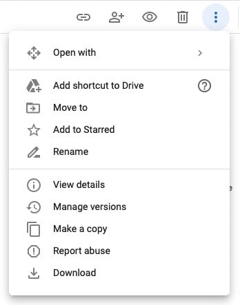 Select the Download option in Google Drive