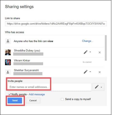 Send sharing link invite