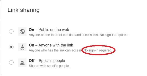 Link sharing no signin