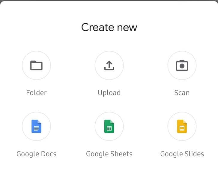 tap folder to create new folder