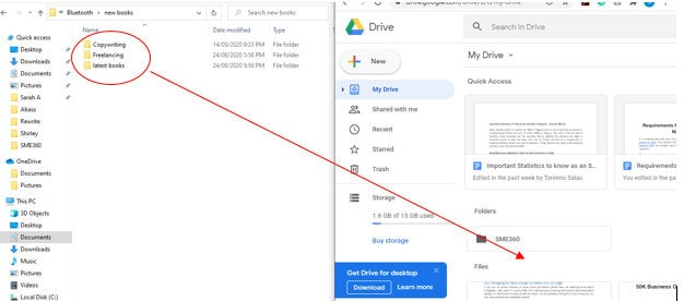 drag and drop multiple folders directly to the google drive window