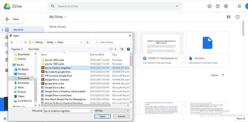 drag and drop zip folder directly to the google drive window