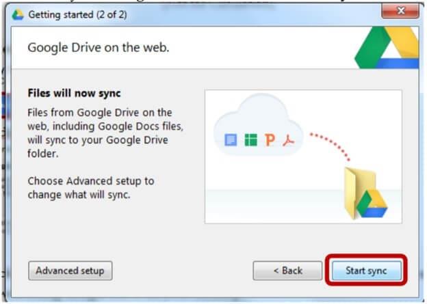 Google drive start sync