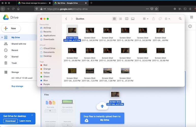Drag and drop images to Google Drive tab in web browser
